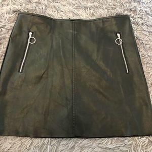 Black Leather Stretch Mini Skirt